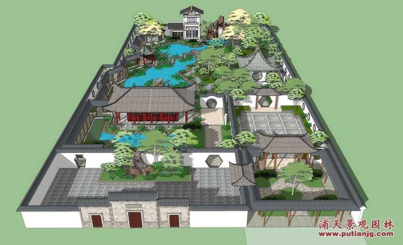 私家庭院古典中式园林 设计建造 图库 湖南浦天景观园林有
