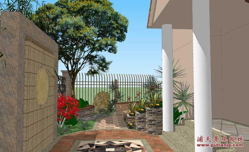 别墅庭院园林设计入户左侧景观设计